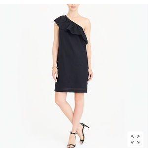 J Crew One Shoulder Black Dress
